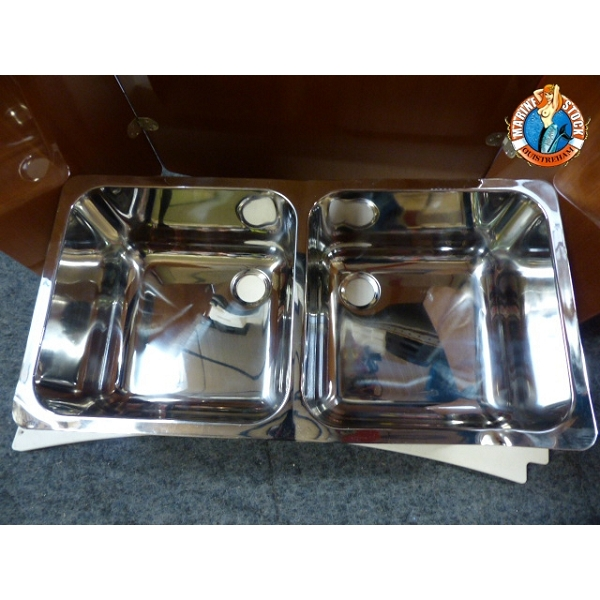 Evier inox double 330x330mm cabosse fin de serie marine for Evier double inox